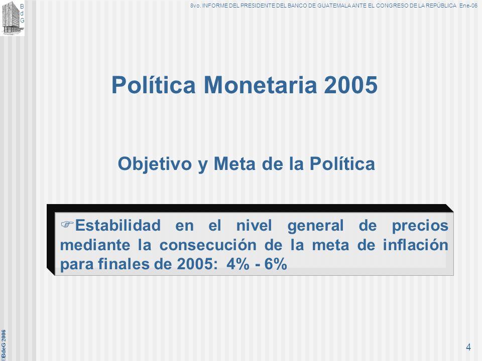 BdGBdG 8vo. INFORME DEL PRESIDENTE DEL BANCO DE GUATEMALA ANTE EL CONGRESO DE LA REPÚBLICA Ene-06 ©BdeG 2006 3 A. Objetivo Fundamental Ley Orgánica de