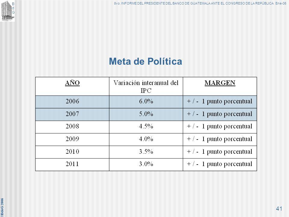 BdGBdG 8vo. INFORME DEL PRESIDENTE DEL BANCO DE GUATEMALA ANTE EL CONGRESO DE LA REPÚBLICA Ene-06 ©BdeG 2006 40 A. Objetivo Fundamental: Propiciar con