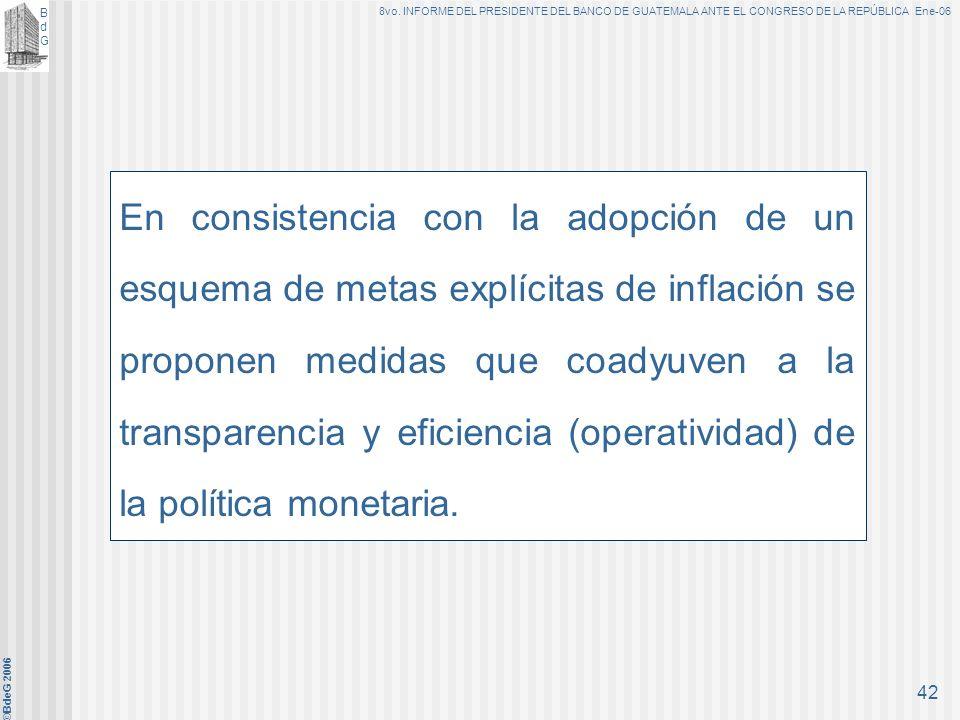 BdGBdG 8vo. INFORME DEL PRESIDENTE DEL BANCO DE GUATEMALA ANTE EL CONGRESO DE LA REPÚBLICA Ene-06 ©BdeG 2006 41 Meta de Política