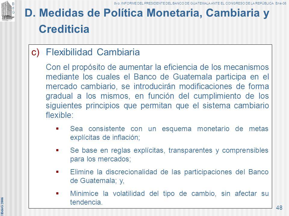 BdGBdG 8vo. INFORME DEL PRESIDENTE DEL BANCO DE GUATEMALA ANTE EL CONGRESO DE LA REPÚBLICA Ene-06 ©BdeG 2006 47 b)Las operaciones de estabilización mo
