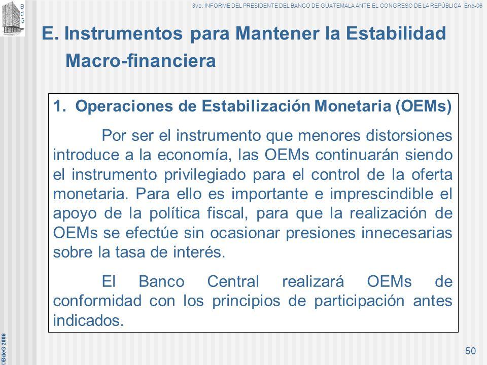 BdGBdG 8vo. INFORME DEL PRESIDENTE DEL BANCO DE GUATEMALA ANTE EL CONGRESO DE LA REPÚBLICA Ene-06 ©BdeG 2006 49 c)Flexibilidad Cambiaria (continuación