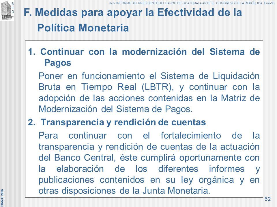 BdGBdG 8vo. INFORME DEL PRESIDENTE DEL BANCO DE GUATEMALA ANTE EL CONGRESO DE LA REPÚBLICA Ene-06 ©BdeG 2006 51 2.Captación de depósitos a plazo en dó