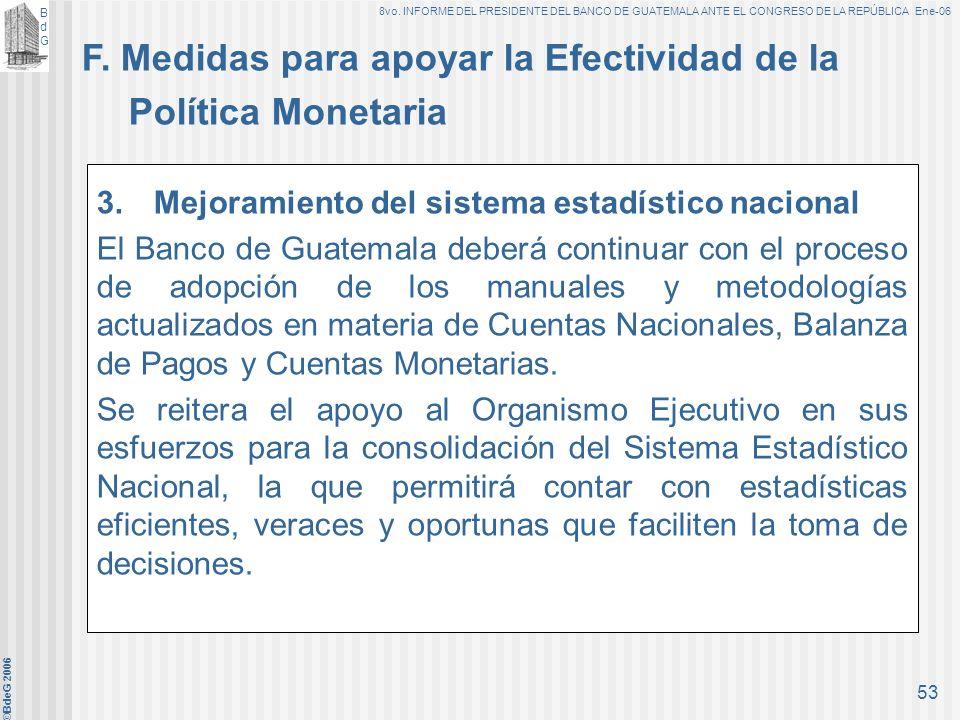BdGBdG 8vo. INFORME DEL PRESIDENTE DEL BANCO DE GUATEMALA ANTE EL CONGRESO DE LA REPÚBLICA Ene-06 ©BdeG 2006 52 1. Continuar con la modernización del