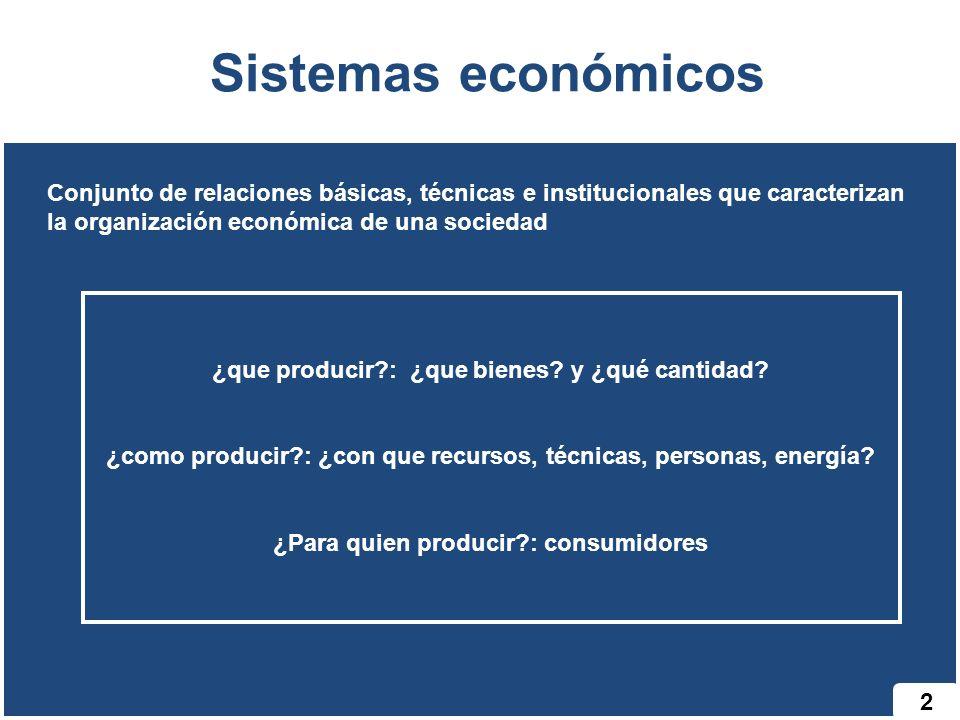 2 Sistemas económicos Conjunto de relaciones básicas, técnicas e institucionales que caracterizan la organización económica de una sociedad ¿que produ
