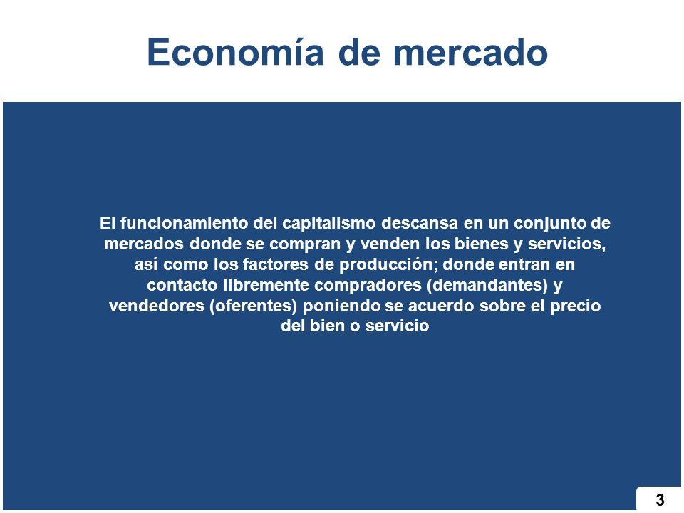3 Economía de mercado El funcionamiento del capitalismo descansa en un conjunto de mercados donde se compran y venden los bienes y servicios, así como