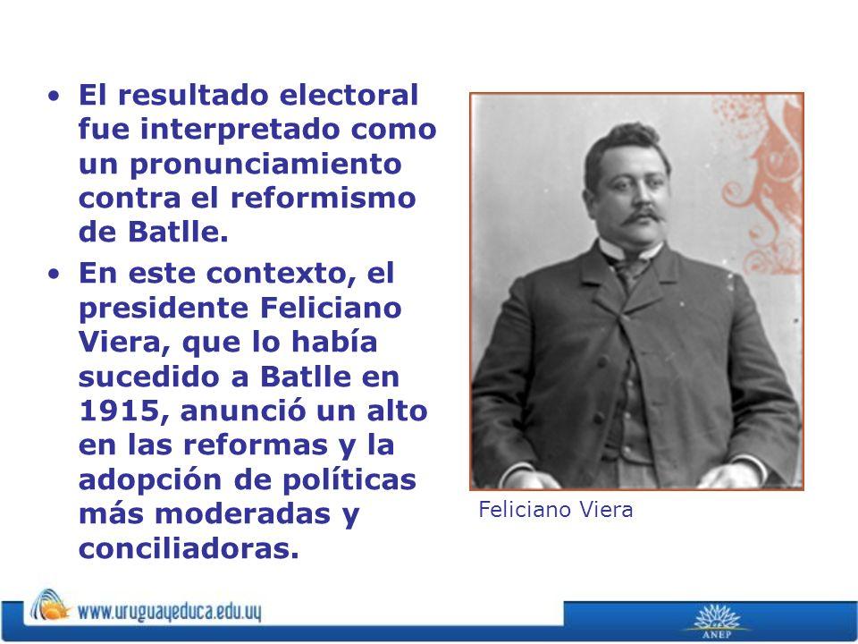El resultado electoral fue interpretado como un pronunciamiento contra el reformismo de Batlle. En este contexto, el presidente Feliciano Viera, que l