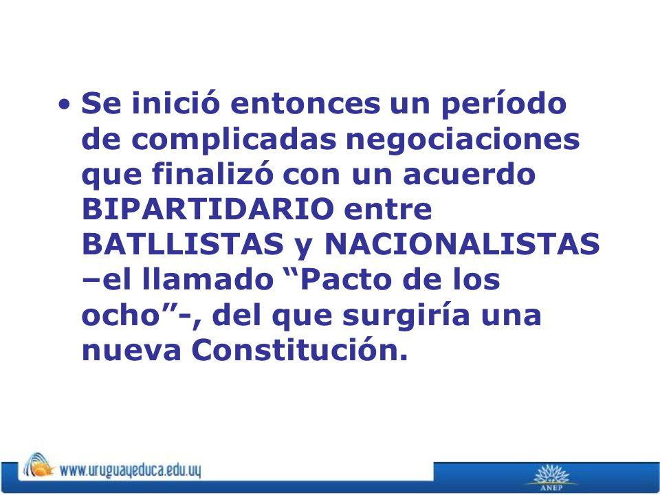 Se inició entonces un período de complicadas negociaciones que finalizó con un acuerdo BIPARTIDARIO entre BATLLISTAS y NACIONALISTAS –el llamado Pacto