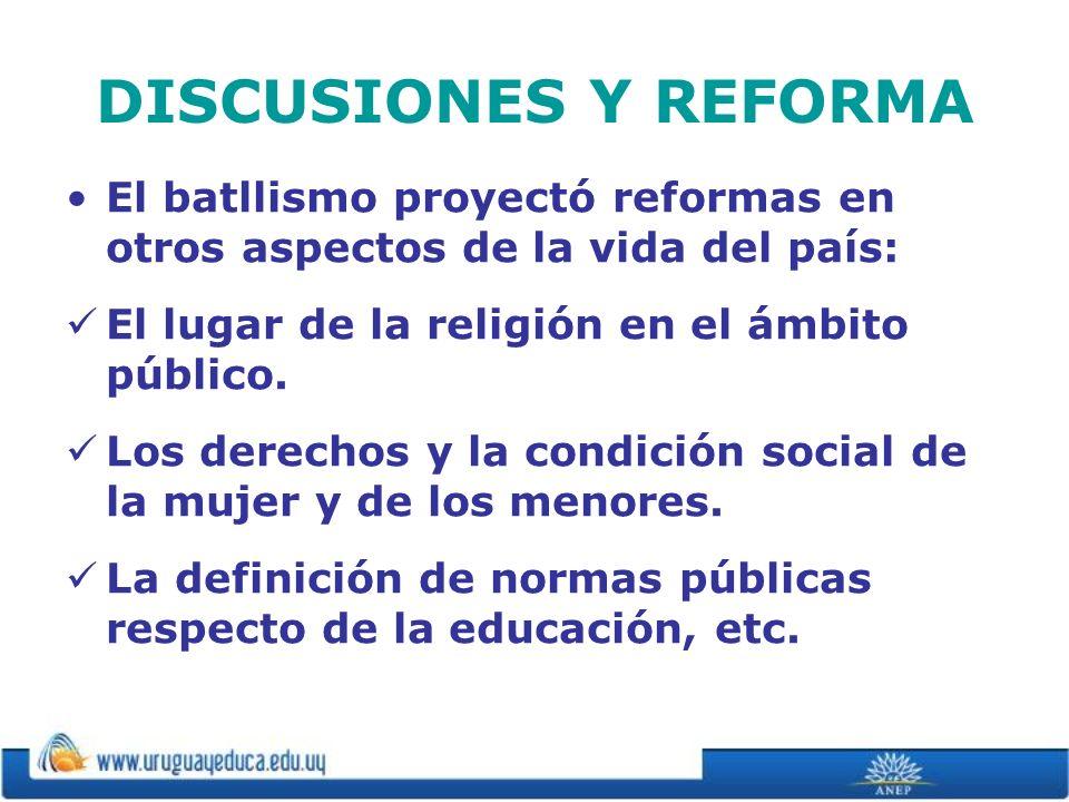 DISCUSIONES Y REFORMA El batllismo proyectó reformas en otros aspectos de la vida del país: El lugar de la religión en el ámbito público. Los derechos