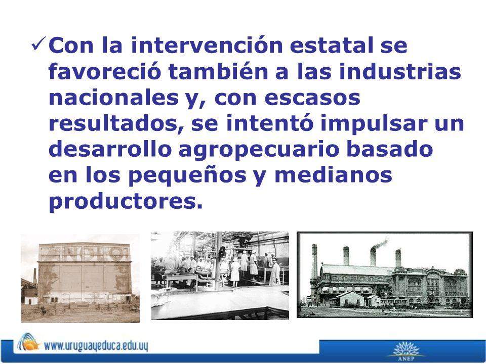 Con la intervención estatal se favoreció también a las industrias nacionales y, con escasos resultados, se intentó impulsar un desarrollo agropecuario