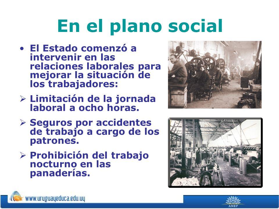 En el plano social El Estado comenzó a intervenir en las relaciones laborales para mejorar la situación de los trabajadores: Limitación de la jornada