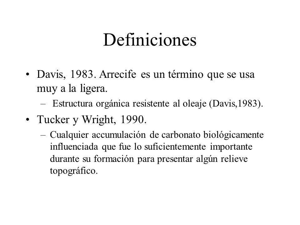 Definiciones Davis, 1983. Arrecife es un término que se usa muy a la ligera. – Estructura orgánica resistente al oleaje (Davis,1983). Tucker y Wright,