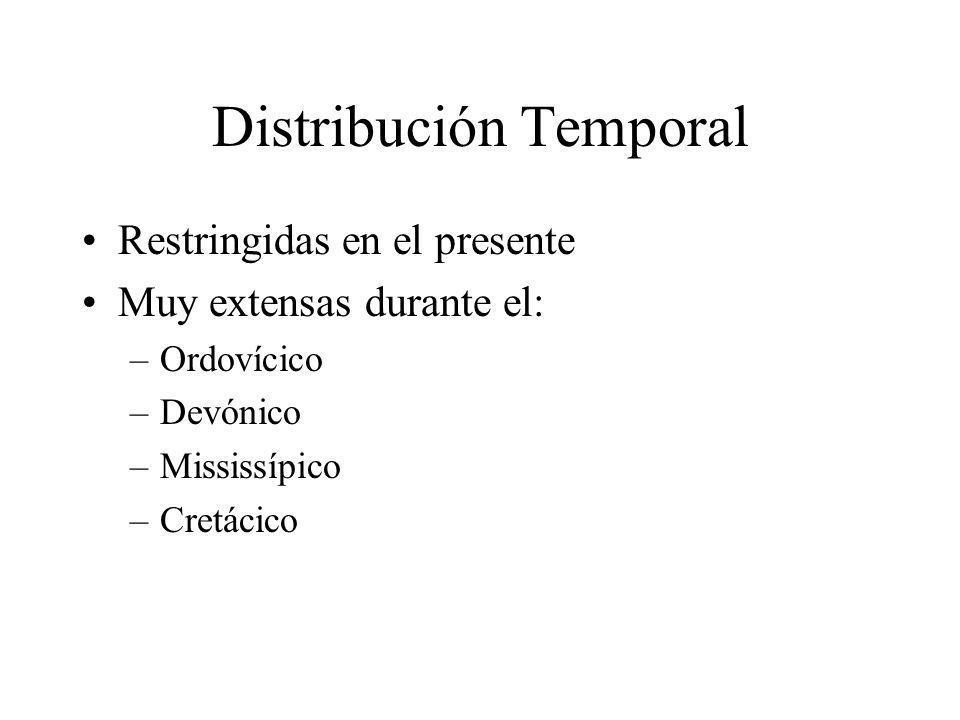Distribución Temporal Restringidas en el presente Muy extensas durante el: –Ordovícico –Devónico –Mississípico –Cretácico