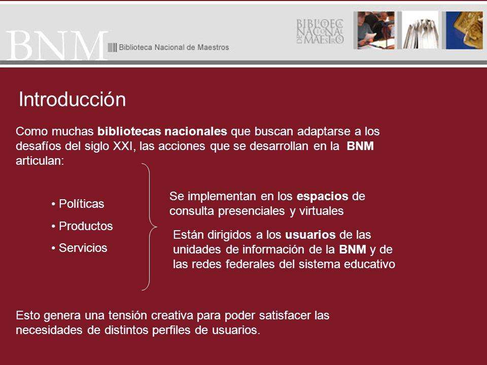 Introducción Como muchas bibliotecas nacionales que buscan adaptarse a los desafíos del siglo XXI, las acciones que se desarrollan en la BNM articulan
