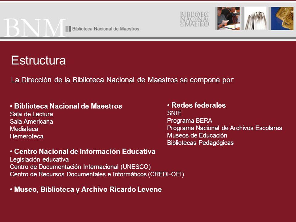La Dirección de la Biblioteca Nacional de Maestros se compone por: Redes federales SNIE Programa BERA Programa Nacional de Archivos Escolares Museos d
