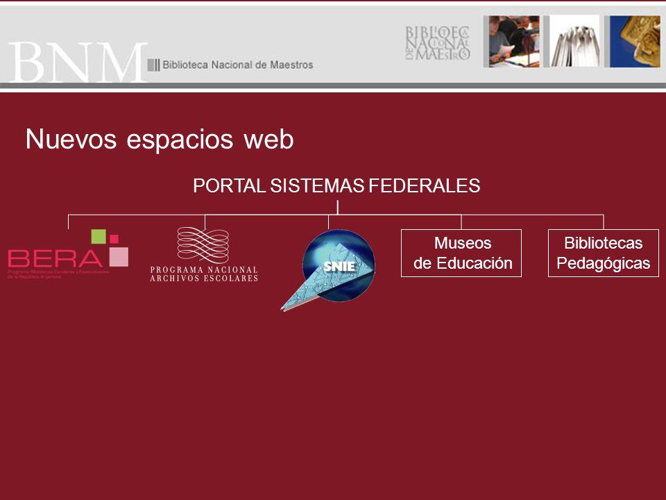 Nuevos espacios web PORTAL SISTEMAS FEDERALES Bibliotecas Pedagógicas Museos de Educación