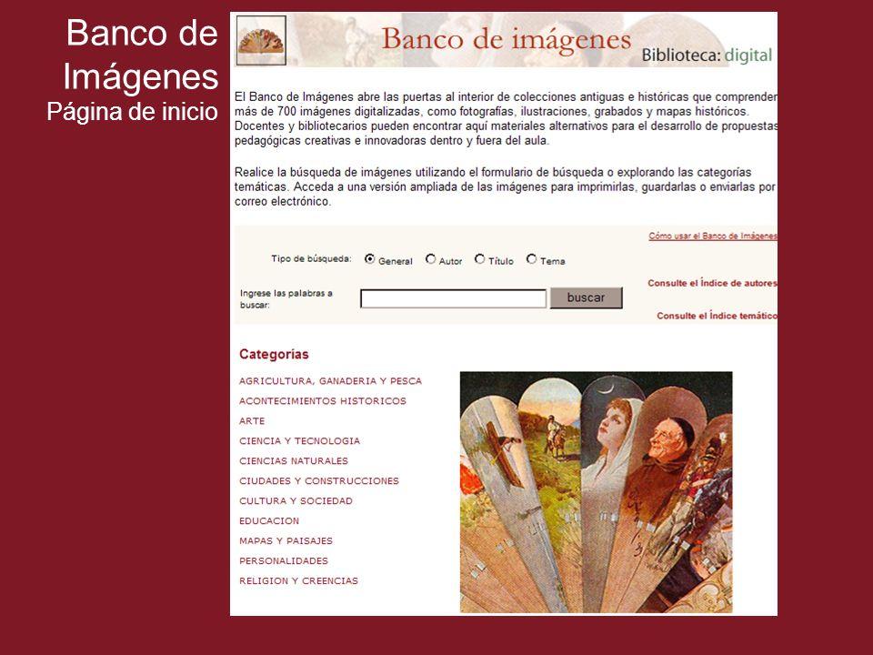 Banco de Imágenes Página de inicio