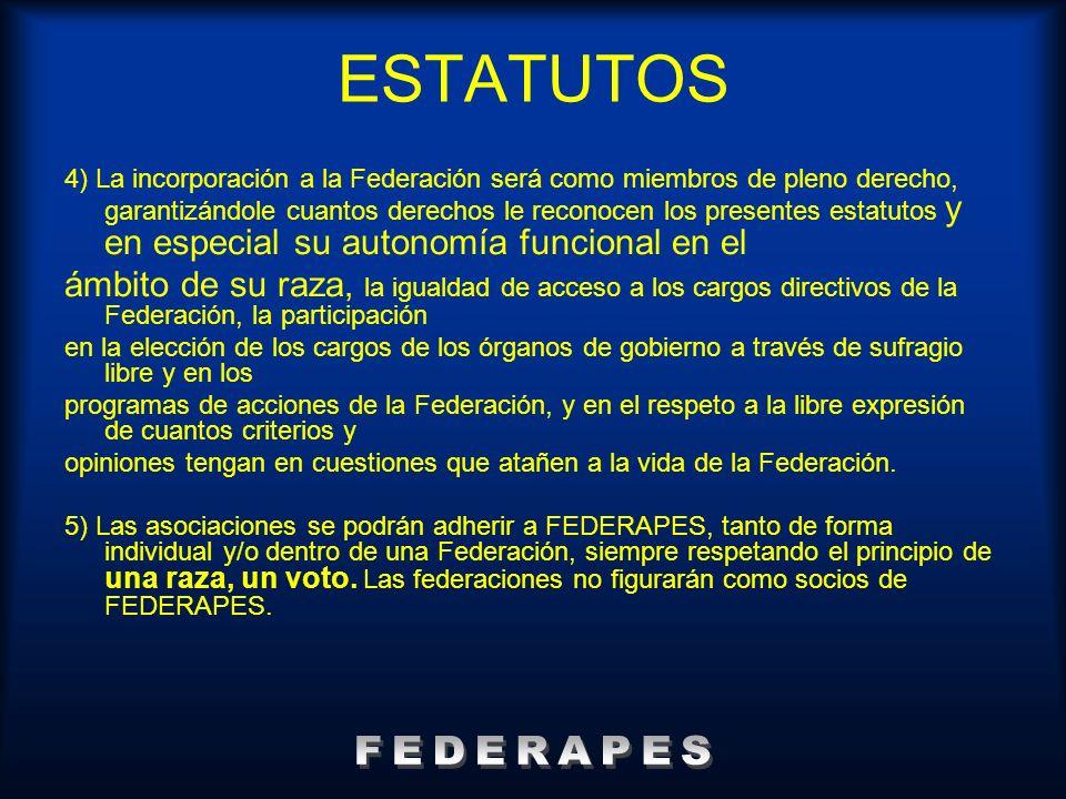 ESTATUTOS 4) La incorporación a la Federación será como miembros de pleno derecho, garantizándole cuantos derechos le reconocen los presentes estatuto