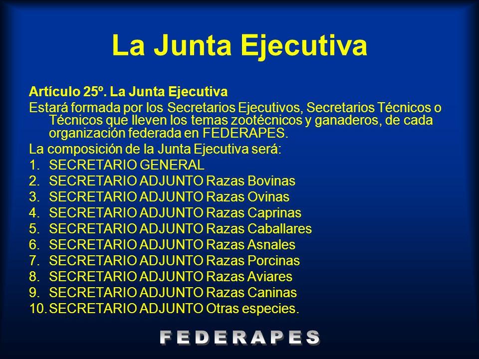 La Junta Ejecutiva Artículo 25º. La Junta Ejecutiva Estará formada por los Secretarios Ejecutivos, Secretarios Técnicos o Técnicos que lleven los tema