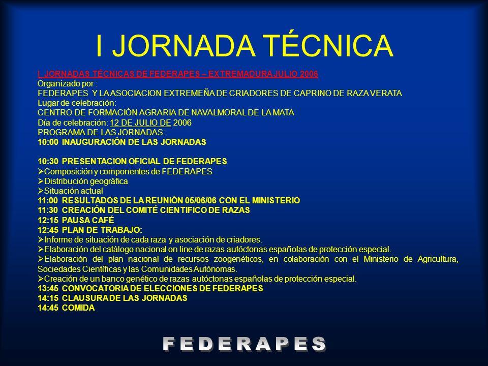 I JORNADA TÉCNICA I JORNADAS TÉCNICAS DE FEDERAPES – EXTREMADURA JULIO 2006 Organizado por : FEDERAPES Y LA ASOCIACION EXTREMEÑA DE CRIADORES DE CAPRI