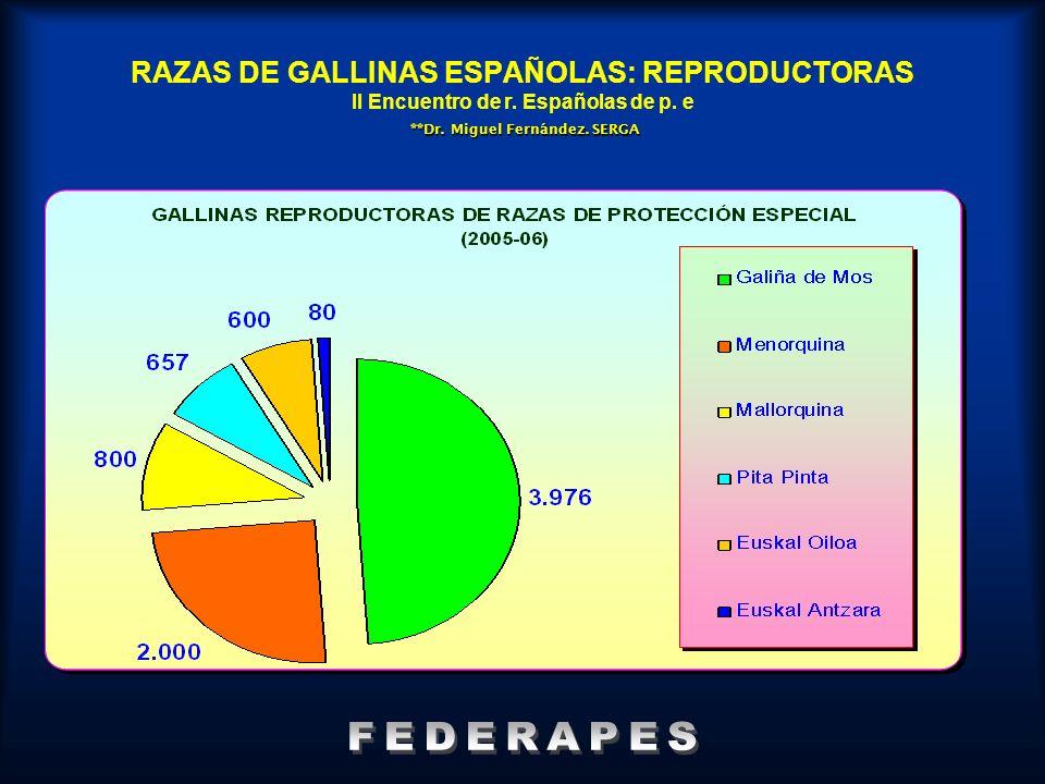 **Dr. Miguel Fernández. SERGA RAZAS DE GALLINAS ESPAÑOLAS: REPRODUCTORAS II Encuentro de r. Españolas de p. e **Dr. Miguel Fernández. SERGA