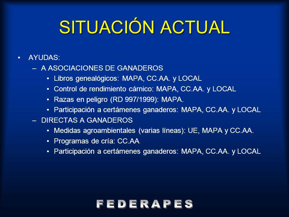 AYUDAS: –A ASOCIACIONES DE GANADEROS Libros genealógicos: MAPA, CC.AA. y LOCAL Control de rendimiento cárnico: MAPA, CC.AA. y LOCAL Razas en peligro (