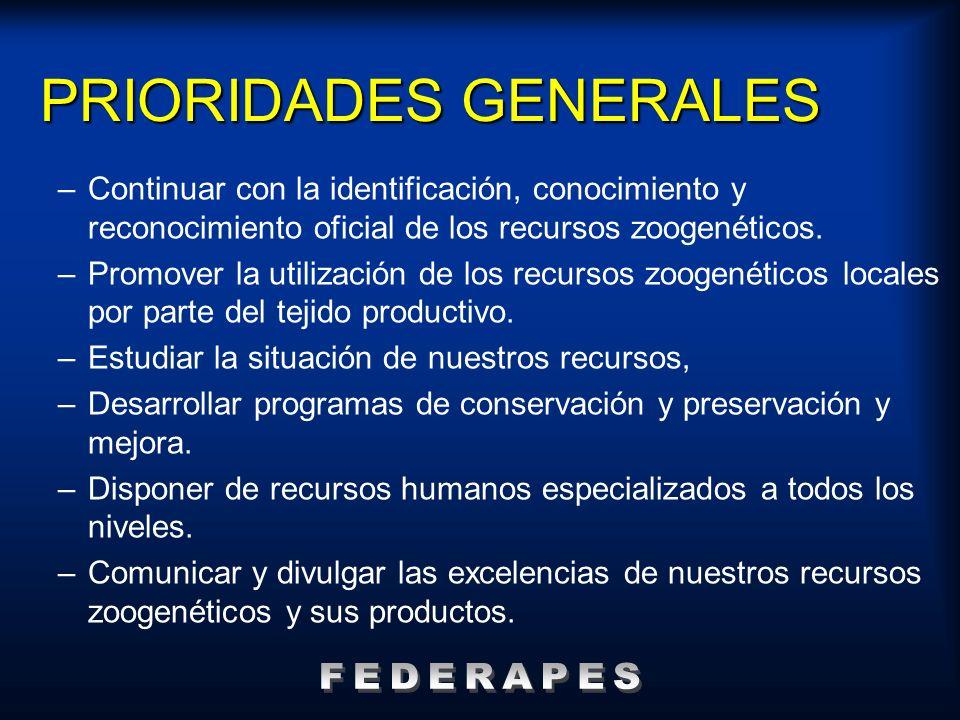 PRIORIDADES GENERALES –Continuar con la identificación, conocimiento y reconocimiento oficial de los recursos zoogenéticos. –Promover la utilización d