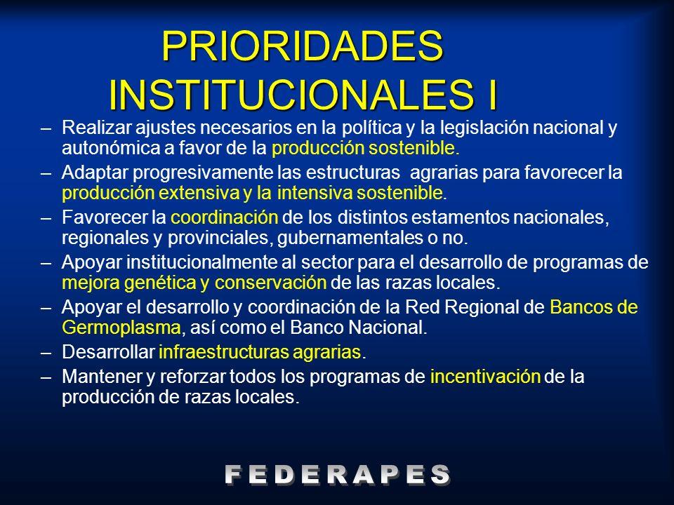 PRIORIDADES INSTITUCIONALES I –Realizar ajustes necesarios en la política y la legislación nacional y autonómica a favor de la producción sostenible.