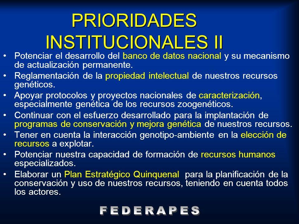 PRIORIDADES INSTITUCIONALES II Potenciar el desarrollo del banco de datos nacional y su mecanismo de actualización permanente. Reglamentación de la pr