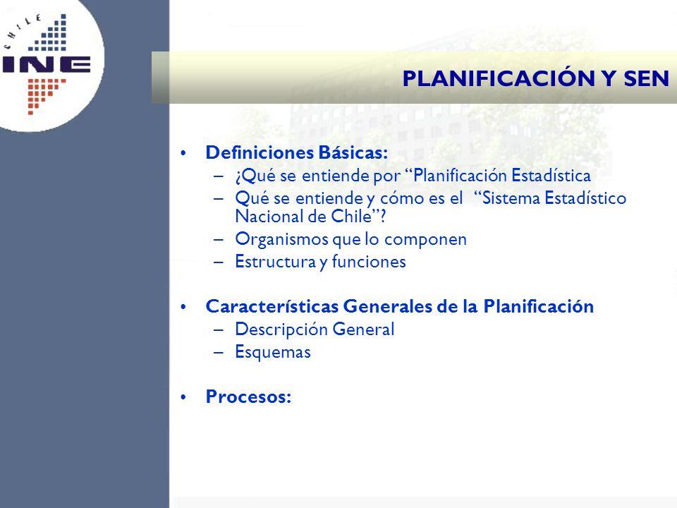 PLANIFICACIÓN Y SEN Definiciones Básicas: –¿Qué se entiende por Planificación Estadística –Qué se entiende y cómo es el Sistema Estadístico Nacional d