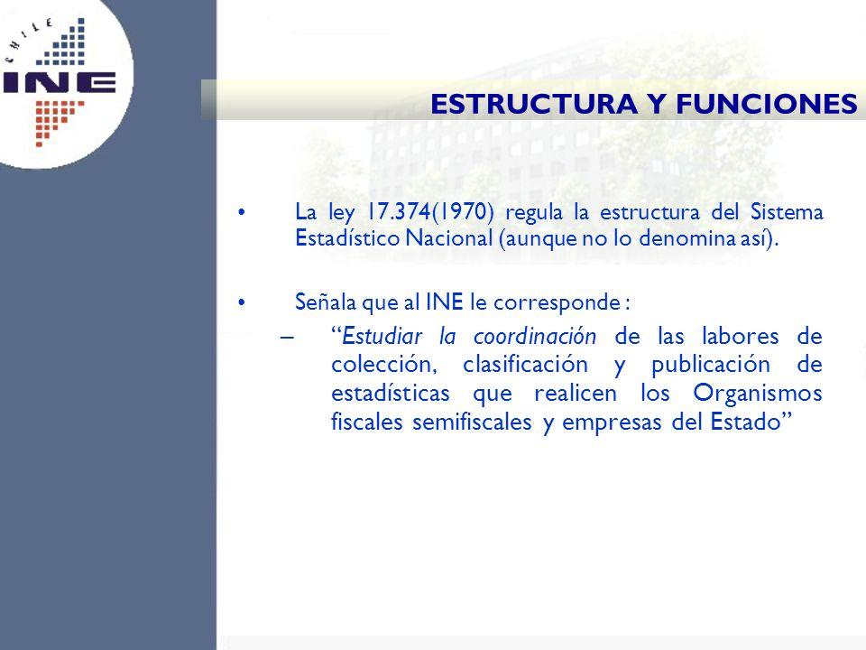 La ley 17.374(1970) regula la estructura del Sistema Estadístico Nacional (aunque no lo denomina así). Señala que al INE le corresponde : –Estudiar la