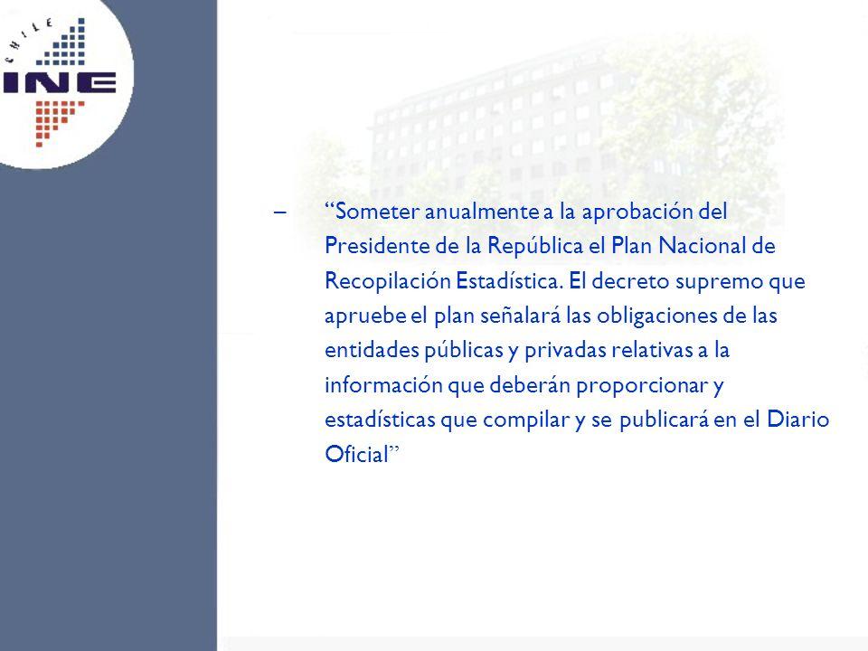 –Someter anualmente a la aprobación del Presidente de la República el Plan Nacional de Recopilación Estadística. El decreto supremo que apruebe el pla