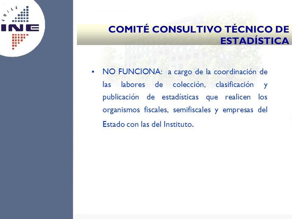 NO FUNCIONA: a cargo de la coordinación de las labores de colección, clasificación y publicación de estadísticas que realicen los organismos fiscales,