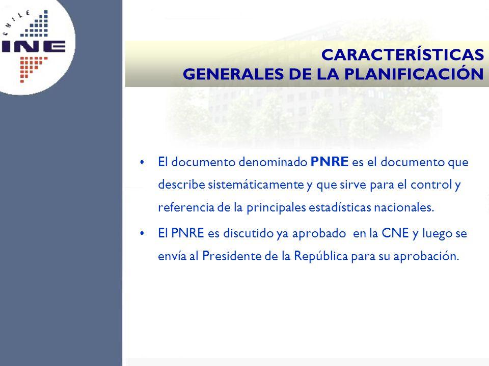El documento denominado PNRE es el documento que describe sistemáticamente y que sirve para el control y referencia de la principales estadísticas nac