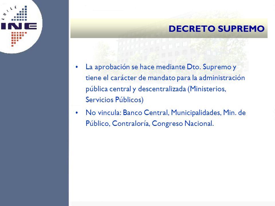 La aprobación se hace mediante Dto. Supremo y tiene el carácter de mandato para la administración pública central y descentralizada (Ministerios, Serv