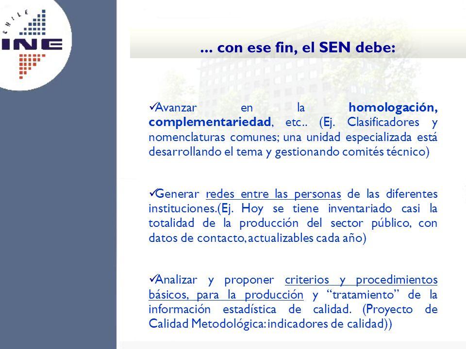 Avanzar en la homologación, complementariedad, etc.. (Ej. Clasificadores y nomenclaturas comunes; una unidad especializada está desarrollando el tema