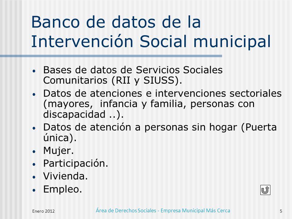 Enero 2012 Área de Derechos Sociales - Empresa Municipal Más Cerca 5 Banco de datos de la Intervención Social municipal Bases de datos de Servicios Sociales Comunitarios (RII y SIUSS).