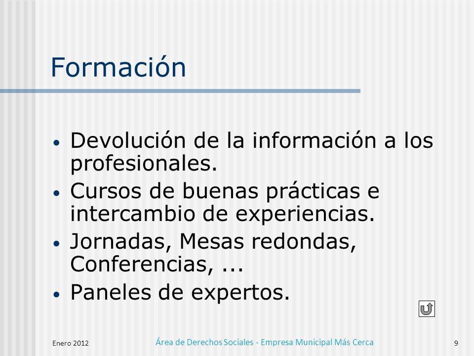 Enero 2012 Área de Derechos Sociales - Empresa Municipal Más Cerca 9 Formación Devolución de la información a los profesionales.