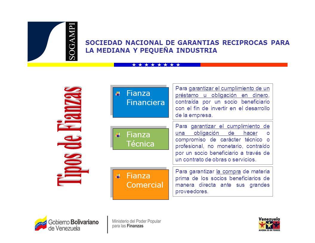 SOCIEDAD NACIONAL DE GARANTIAS RECIPROCAS PARA LA MEDIANA Y PEQUEÑA INDUSTRIA Instituciones Financieras del Estado: Bandes Banfoandes Banco del Tesoro Bancoex Banco Industrial de Venezuela SGR Regionales Instituciones Financieras del Sector Privado: Banco Canarias de Venezuela Banco de Venezuela (Revisión) En Negociación para la Fianza Bursátil: Banco Mercantil (MERINVEST) BOD Banco Nacional de Crédito BBV Banco Provincial