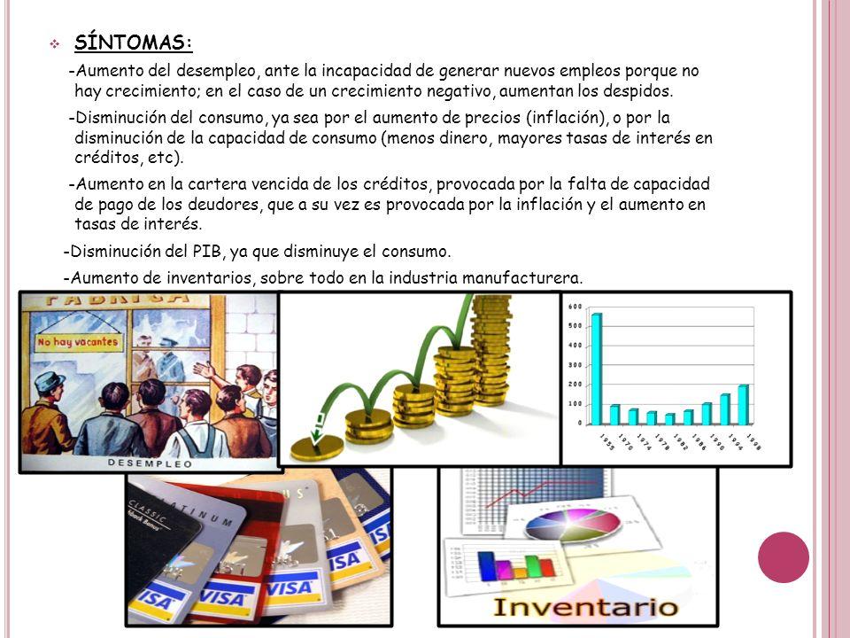 SÍNTOMAS: -Aumento del desempleo, ante la incapacidad de generar nuevos empleos porque no hay crecimiento; en el caso de un crecimiento negativo, aume