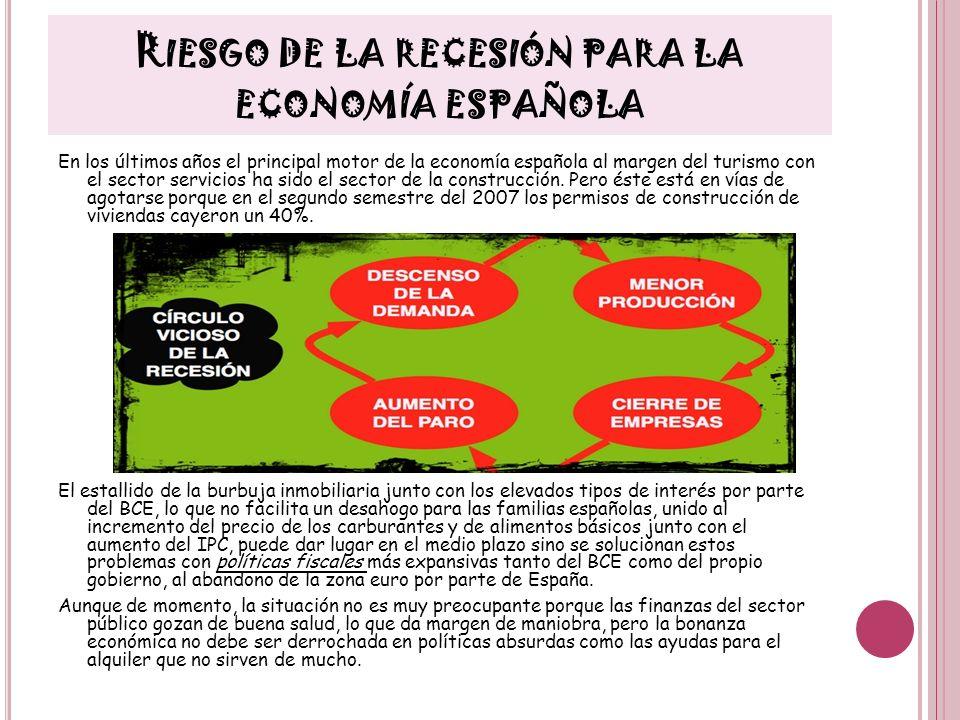 R IESGO DE LA RECESIÓN PARA LA ECONOMÍA ESPAÑOLA En los últimos años el principal motor de la economía española al margen del turismo con el sector se