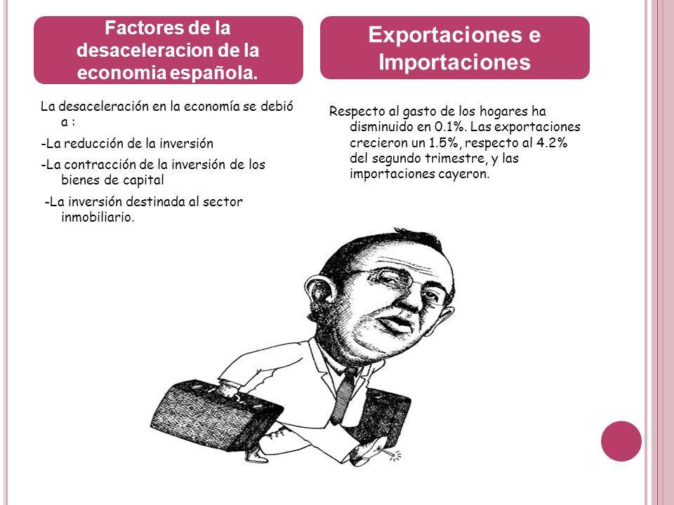 La desaceleración en la economía se debió a : -La reducción de la inversión -La contracción de la inversión de los bienes de capital -La inversión des