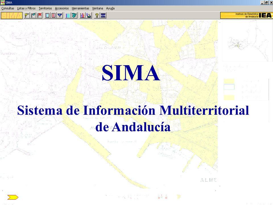 SIMA: Se concibe como un banco de datos en el que se incluye información multitemática para los principales ámbitos territoriales en el ámbito de nuestra comunidad Territorios + Variables _________ = Consulta de datos
