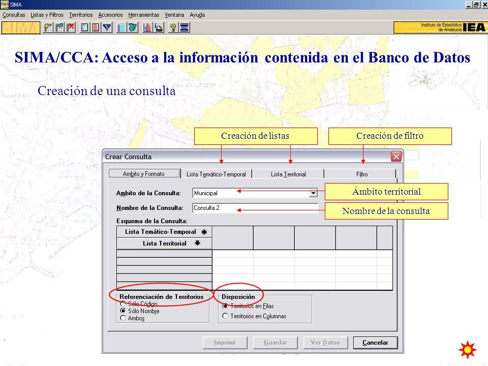 Creación de una consulta Ámbito territorialNombre de la consultaCreación de listasCreación de filtro SIMA/CCA: Acceso a la información contenida en el