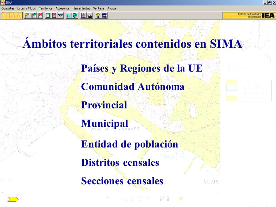 Municipal Entidad de población Distritos censales Secciones censales Provincial Comunidad Autónoma Países y Regiones de la UE Ámbitos territoriales co