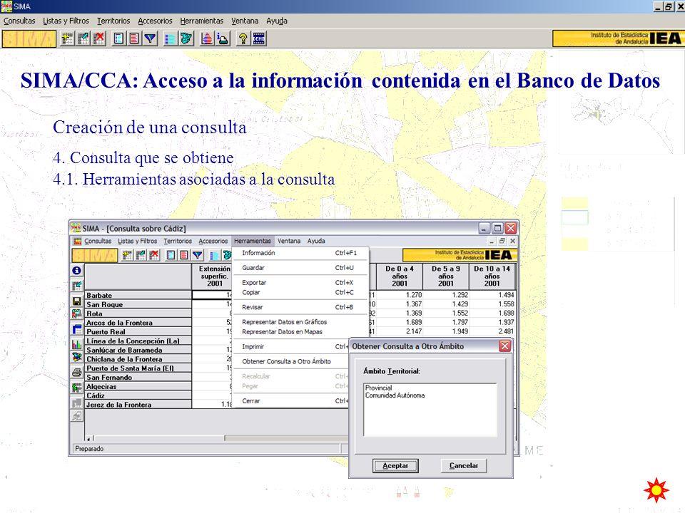 Creación de una consulta SIMA/CCA: Acceso a la información contenida en el Banco de Datos 4. Consulta que se obtiene 4.1. Herramientas asociadas a la