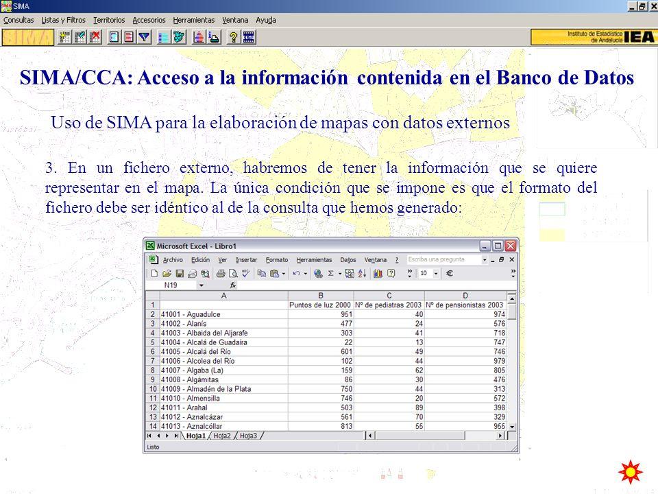 Uso de SIMA para la elaboración de mapas con datos externos SIMA/CCA: Acceso a la información contenida en el Banco de Datos 3. En un fichero externo,