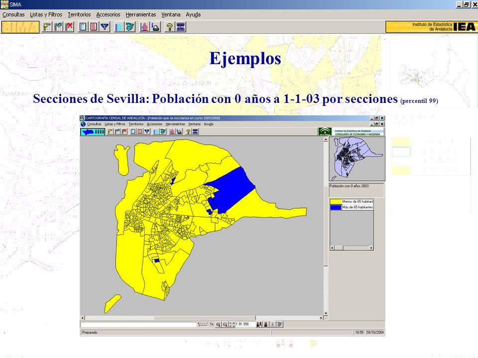 Ejemplos Secciones de Sevilla: Población con 0 años a 1-1-03 por secciones (percentil 99)