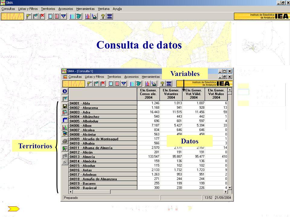 Uso de SIMA para la elaboración de mapas con datos externos SIMA/CCA: Acceso a la información contenida en el Banco de Datos 3.