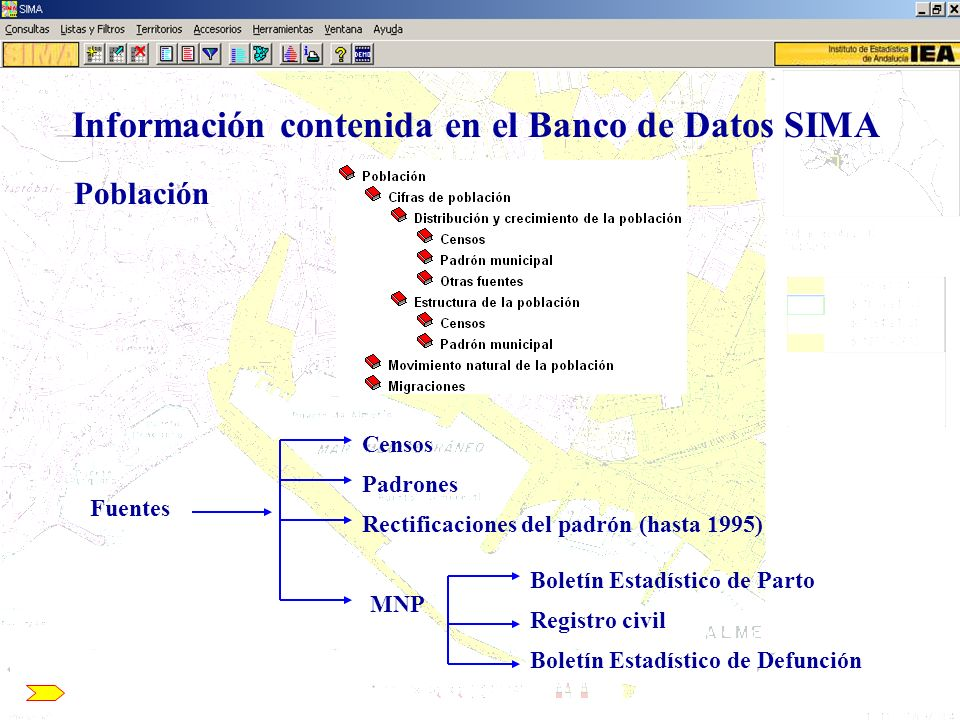 Información contenida en el Banco de Datos SIMA Población Censos PadronesRectificaciones del padrón (hasta 1995) MNP Boletín Estadístico de Parto Regi