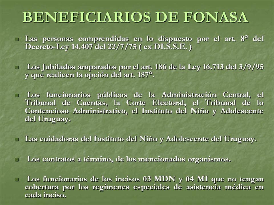 BENEFICIARIOS DE FONASA Las personas comprendidas en lo dispuesto por el art.